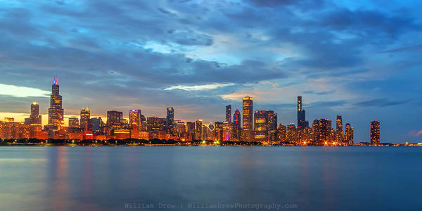 Chicago Skyline At Dusk On Independence Day   Chicago Skyline Wallpaper Mural Photography Art | William Drew Photography