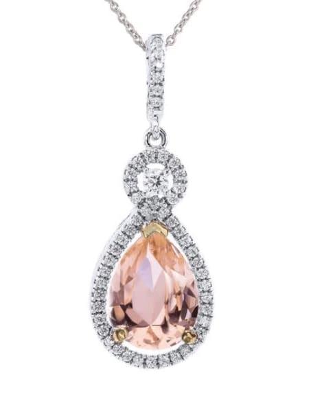 Silver Morganite-Hued Victorian Pear Necklace with Halo