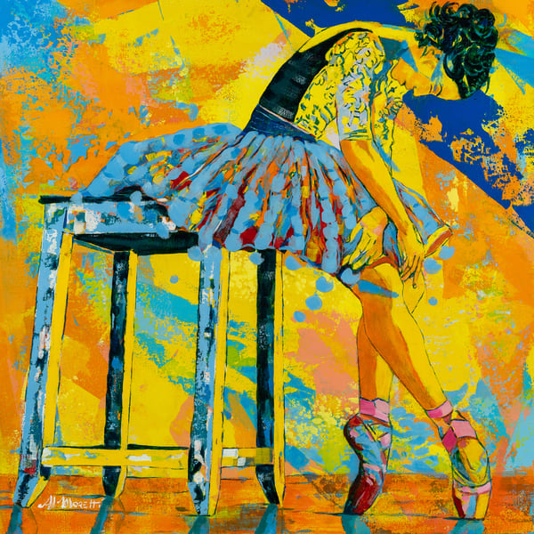 Ballerina leaning on a table