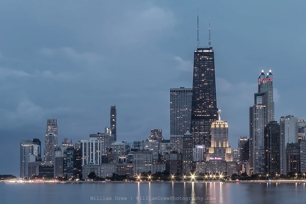 Stormy Chicago Skyline   City Skyline Wallpaper Mural Photography Art | William Drew Photography