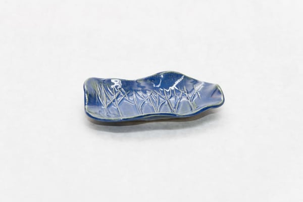 Blue Tree Freeform Pottery Dish | http://www.mooseprintsgallery.com