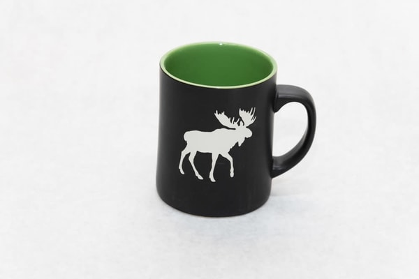 Black And Green Maine Moose Mug | http://www.mooseprintsgallery.com