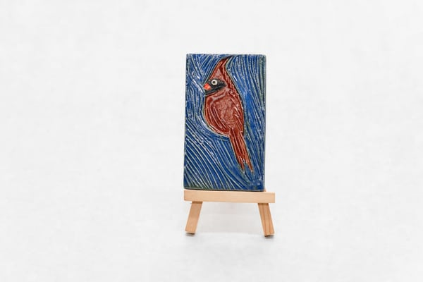 Blue Cardinal Decorative Pottery Tile  | http://www.mooseprintsgallery.com