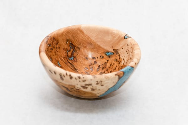 Hand Turned Spalted Maple Burl Bowl With Turquoise Resin | http://www.mooseprintsgallery.com