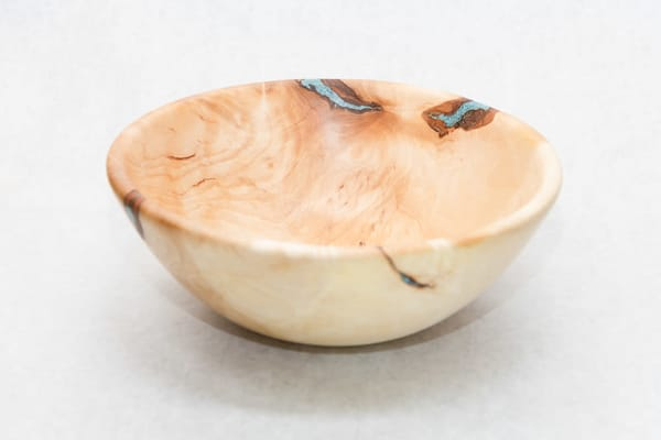 Large Hand Turned Birch Bowl With Turquoise Resin Fill | http://www.mooseprintsgallery.com