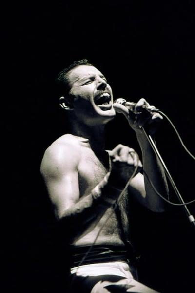 Freddie Mercury of Queen at Wembley Arena