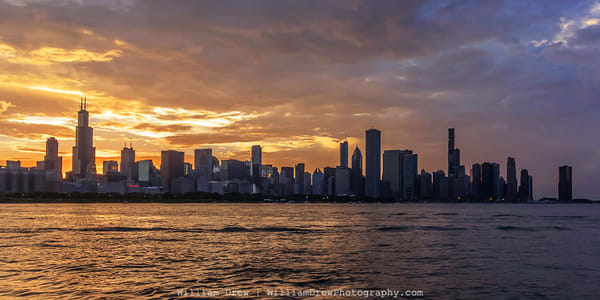 Chicago Skyline Sunset From The Adler Planetarium   City Wall Murals Photography Art | William Drew Photography