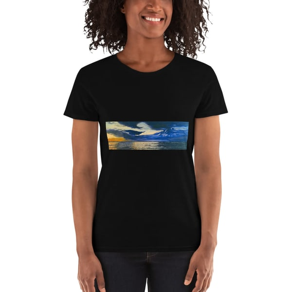 Sunset Wave In Kauai  Womens T Shirts   CruzArtz Fine Arts