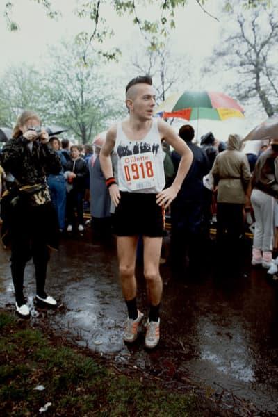 Joe Strummer of The Clash before the start of the 1983 London Marathon
