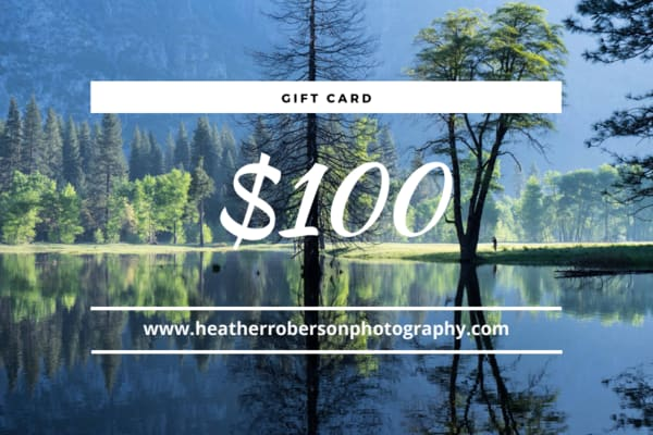 Gift card for purchase of photography
