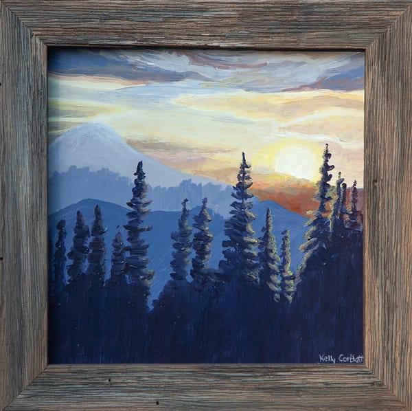 Alpine mountain sunset painting