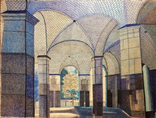 The Arabesque Colums Of The Nyc Hall Station   lencicio
