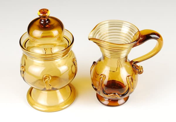 Lily Pad Sugar Bowl And Creamer | Ed Pennebaker, Red Fern Glass