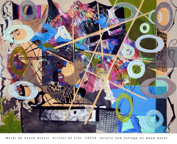 De Veuve Alexis Mardi Circlesof Life 18x24 Acrylic Collage Wood Panel Art | MardisArt