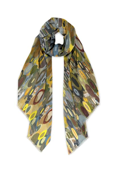 City Lights Reflection Scarf Cashmere Silk | Abstraction Gallery by Brenden