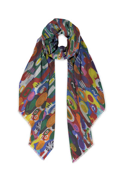 We All Are One Scarf Cashmere Silk | Abstraction Gallery by Brenden