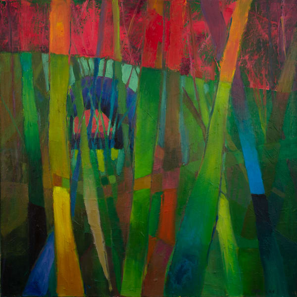 Tunnel In Green And Red Art | Laura Donovan Art