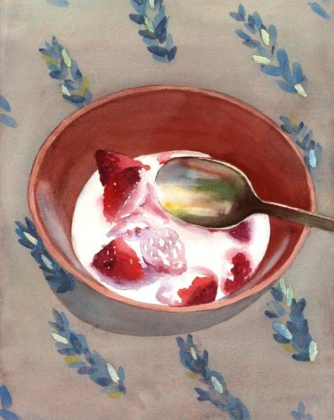 Strawberries &  Cream Art | Machalarts Watercolor Studio