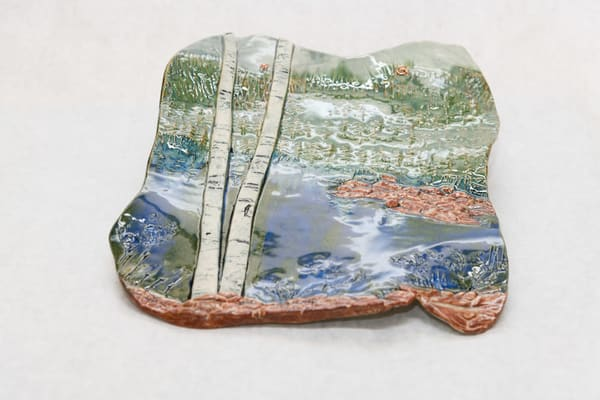 Birch Trees By The Pond Pottery Wall Hanging | http://www.mooseprintsgallery.com