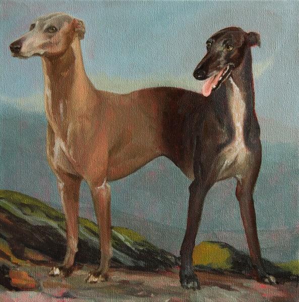 Two Headed Greyhound Original Art   Kym Day Studio
