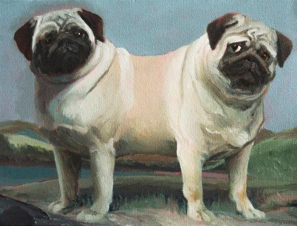 Two Headed Pug Original Art   Kym Day Studio