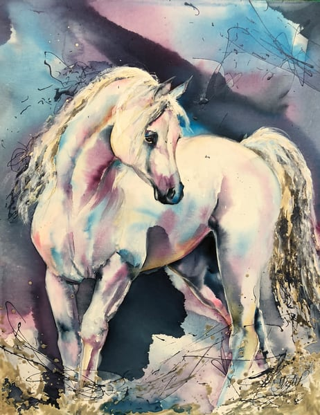 White Stallion Watercolor Spalsh Blue Art | Christy! Studios