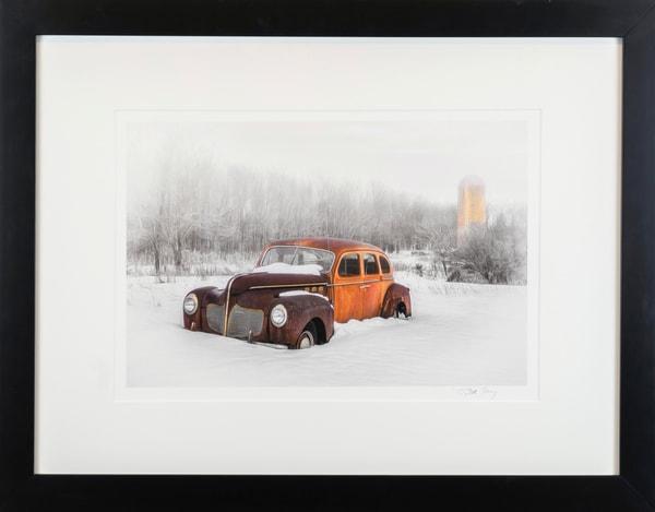 DeSoto, winter, antique auto, antique, orange, brown, Cynthia Fleury, snow, barn, silo,
