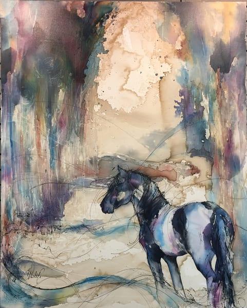 Black Fresian Stallion In Forest Art | Christy! Studios