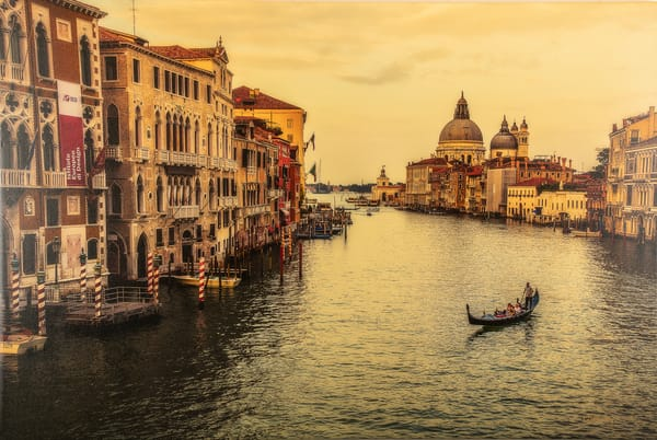grand canal, venice, italy, canvas, unframed, signed, yellow, Cynthia Fleury