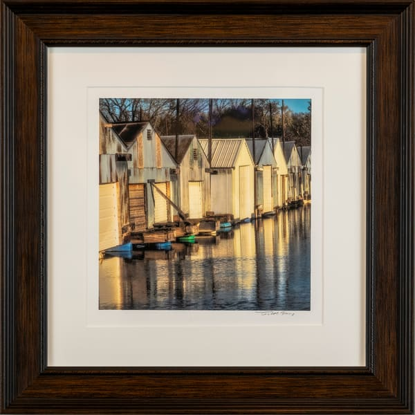 Boat Houses, Dawn, golden light, reflections,