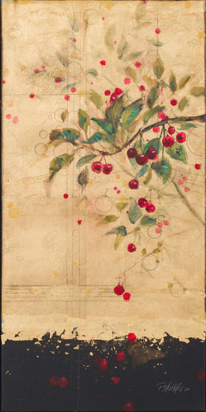 Arrangement In Gold Ii   Cherries Art | Freiman Stoltzfus Gallery