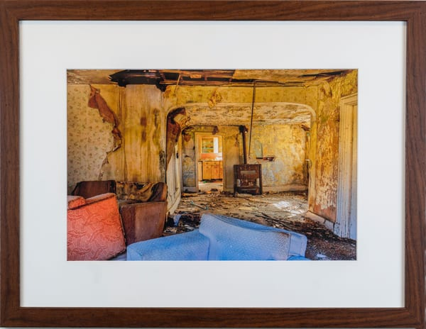 abandoned, home, yellow, blue, rust, Cynthia Fleury,