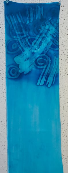Blue And Teal Scarf Art   M.C. Gill Tropical Art at the Funky Flamingo Studio
