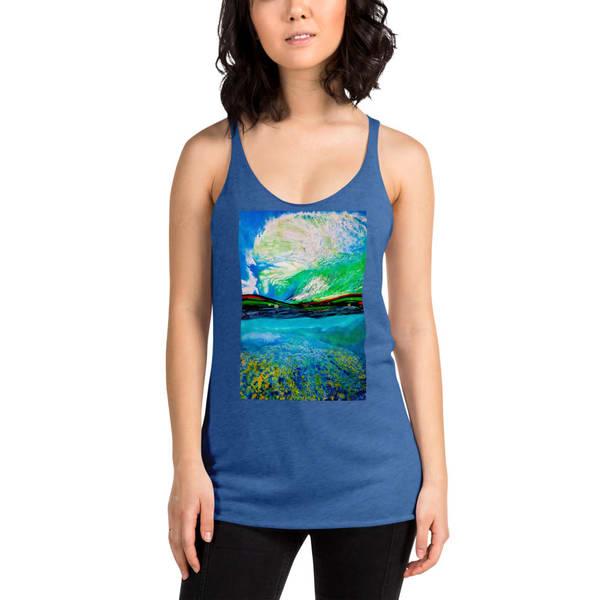 Ocean + Sky Womens  Racerback Tanks   CruzArtz Fine Arts