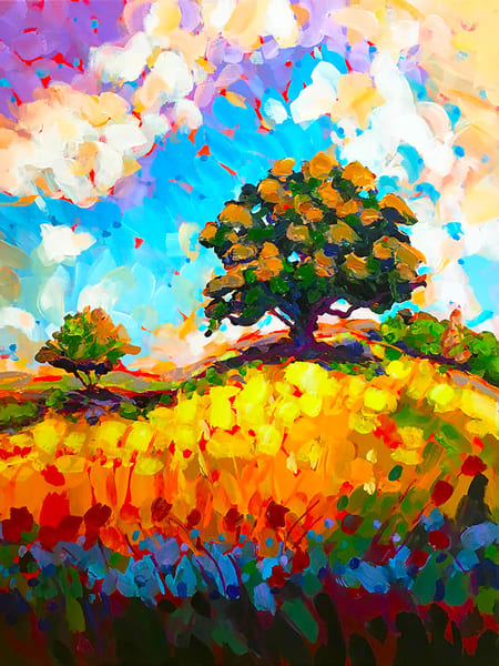 The Live Oak On The Hill Art | Charles Wallis