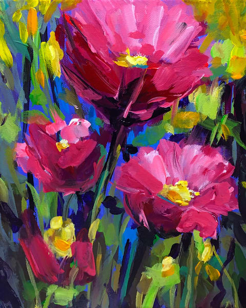 Red Wild Flowers Art | Charles Wallis