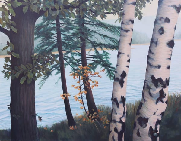 Five Trees By The River   Original Painting Art | Lidfors Art Studio