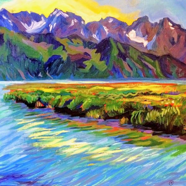 Colorful mountain art by seaside in Alaska by Alaska painter Amanda Faith