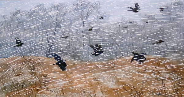 crows flight snow squall