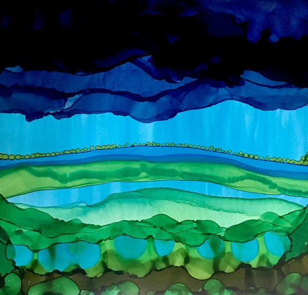 Little Vista Adorned With Trees, Original Art | Sandy Smith Gerding Artwork