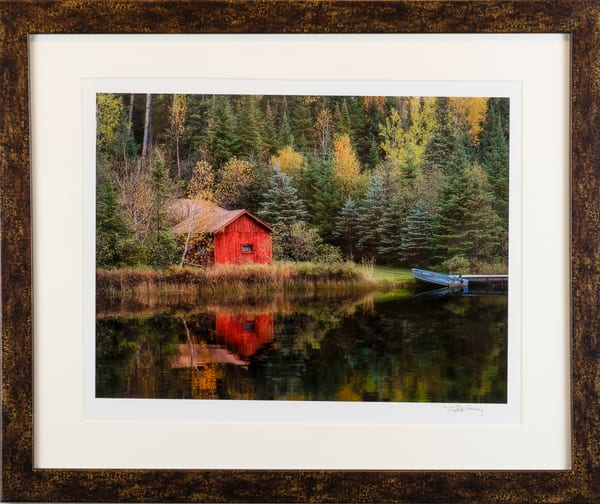 red cabin, green, reflections, fall, northern midwest,