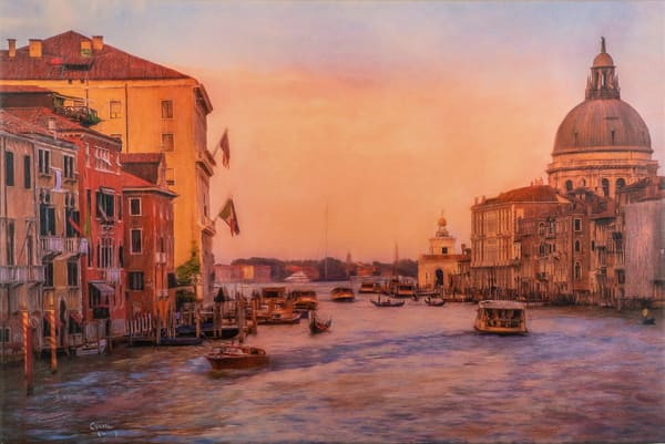 sunset, grand canal, venice, orange, purple, vintage,