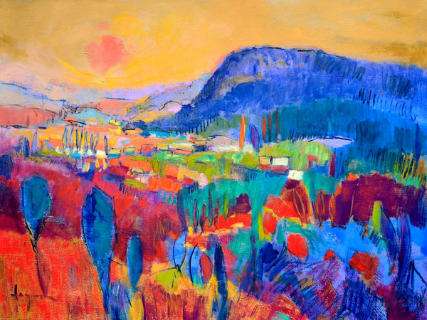 Oversize Red Blue Landscape Art Painting by Dorothy Fagan