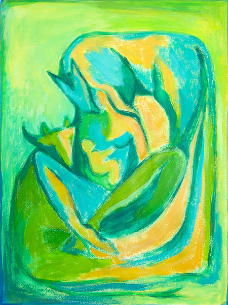 Fine Art Prints | Madonna With Cow And Horse (green) | Micky Jansen