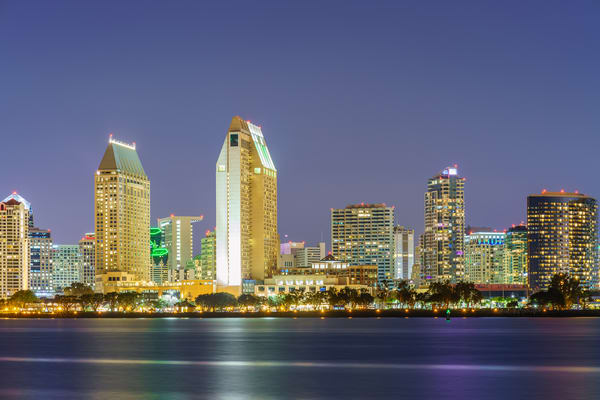 San Diego Skyline from Coronado Wall Art Print by McClean Photography