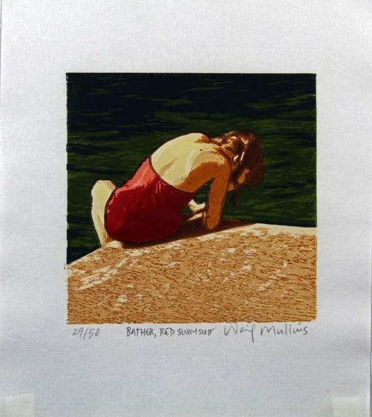 Bather, Red Swim Suit Art | Waif Mullins Art
