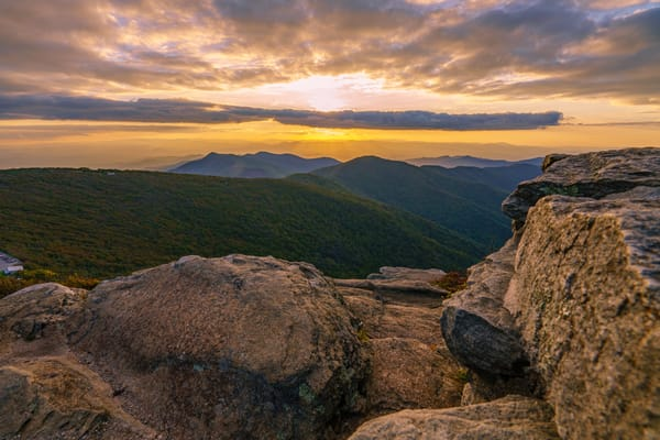 Craggy Mountain, North Carolina Golden Sunset Wall Art Print by McClean Photography