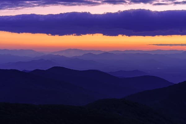 Craggy Mountain, North Carolina Purple Sunset Wall Art Print by McClean Photography