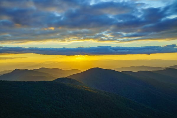 Craggy Mountain, North Carolina Golden Sunset Fine Art Printby McClean Photography
