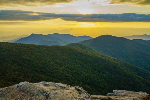 Craggy Mountain, North Carolina Gold Sunset 2 Wall Art Print by McClean Photography